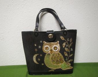 Vintage OWL PURSE handbag, wood bottom, faux stones, sequins