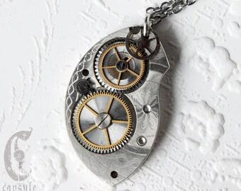 Steampunk Statement Necklace Pendant - Pocket Watch Pendant - Elgin Guilloche Etch Antique Pocket Watch Plate Bridge Pendant Gift
