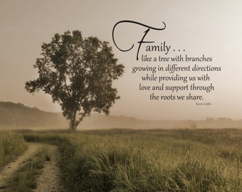 """Family . . . like a tree with branches growing in different directions while providing us with love . . . original photo & quote """"Family"""""""