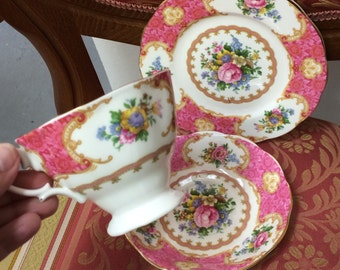 Vintage  Royal Albert Lady Carlyle bone china tea trio - tea cup, saucer & tea plate