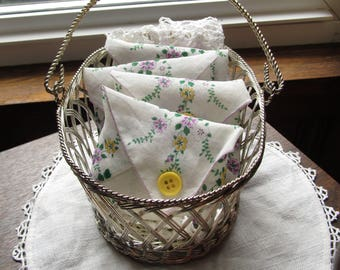 Purple Vintage Hanky Sachet, Scented Drawer Pouch,  Shower Gift, Thank you for Teacher, Lavender Sachet Favor, Sach43