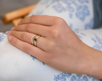 Wedding ring set, art deco sapphire ring, blue sapphire ring, dainty engagement ring, promise ring set, sapphire ring, 18k gold ring