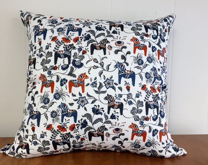 Swedish Dala Horse Pillow Cover White with Red and Blue