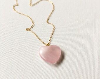 14kgf Rose Quartz Heart Charm Necklace