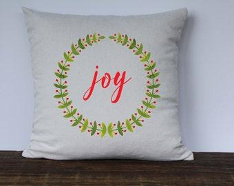 Joy Christmas Pillow Cover, Farmhouse Christmas Pillow, Decorative Christmas Pillow, Couch Pillow cover, Watercolor wreath pillow cover