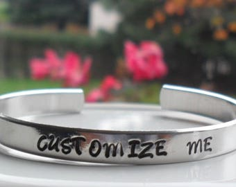 Hand stamped aluminum bracelet, birthday gift, inspirational bracelet, personalized jewelry, Valentine Gift, gift for her