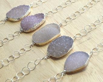 Sparkling Druzy Bracelet- GENUINE Druzy Bracelet- Silver Druzy Bracelet