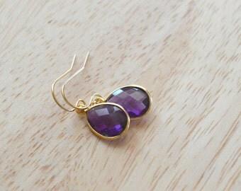 GEMSTONE DROP EARRINGS- Purple Amethyst Earrings- Teardrop Gemstone Earrings in Gold or Silver- February Birthstone Earrings