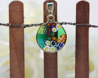 14mm Murano Millefiori Lampwork Glass Pendant 24K Gold Plated Sterling Silver Green G4