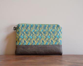 Green / vegan leather zipper pouch