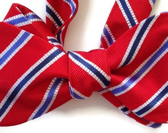 Silk Bow Tie for Men - Collegiate Red  - One of-a-Kind, Handtailored, Self-tie - Free Shipping