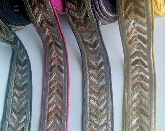 Yellow / Purple / Fuchsia Pink / Black Silk Fabric Trim With Gold Embroidery - 200317L274/75/76/77