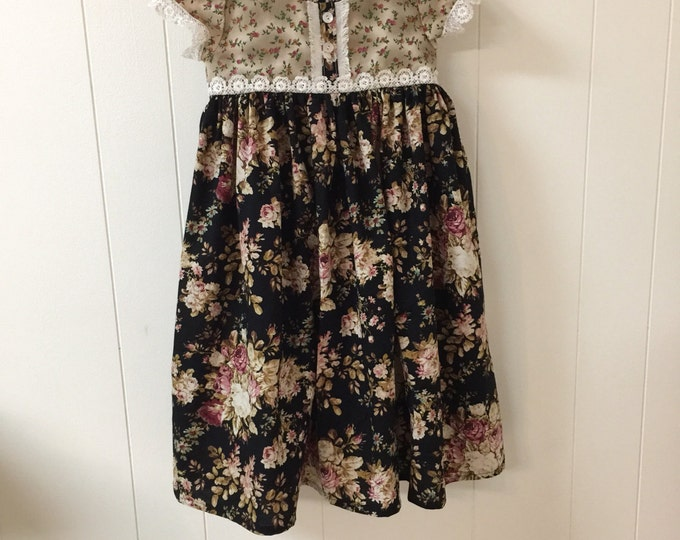 Rose print dress/size 6 dress/ girls dress/ clara dress/ready to ship