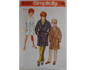Vintage 60's Simplicity 8326 Sewing Pattern Boys Teen Junior Dressing Gown Bath Robe Smoking Jacket Chest 30""