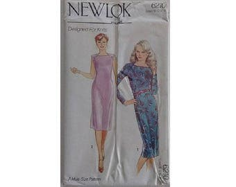 """UNCUT Vintage 80's New Look Maudella 6210 Pattern Fitted Square Neck Dress Suitable for Knit Stretch Fabric 4 Sizes Bust 32.5"""" 34"""" 36"""" 38"""""""