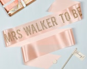 Personalised Glitter Print Bold 'Mrs to Be' Hen Party Sash, in on trend ribbon colours, with gold polka dot badge - Bridal Shower / Hens