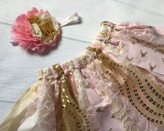 Pink, cream and gold tutu, deer birthday, first birthday scrap tutu, birthday tutu set, rag tutu, scrappy tutu, woods princess rag tutu