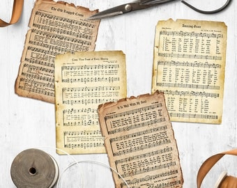 Printable Tattered Hymn Cards, Instant Download, Vintage Hang Tags, Prayer Journal, Collage Sheet, Bible Journaling, Hymnal Pages, Postcards