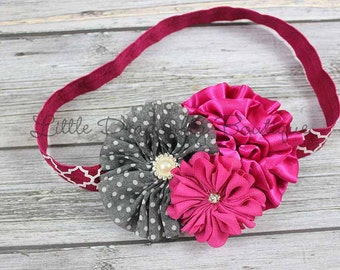 RTS Fuschia and charcoal headband, berry headband, baby headband, cakesmash headband