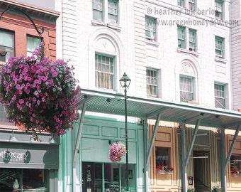 Halifax Buildings - Wall Decor - Fine Art Photography Print - Store Facade, Pale Yellow, Teal, Orange, Green, White Bricks