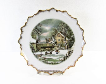 The Farmer's Home Winter Currier & Ives Collectible Plate