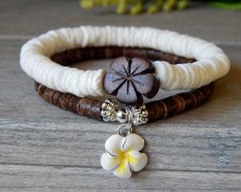 Heishi Shell Bracelet, Plumeria Bracelet, Coconut Bracelet, Tropical Bracelet, Beach Bracelet, Flower Bracelet, Nature Inspired Bracelet