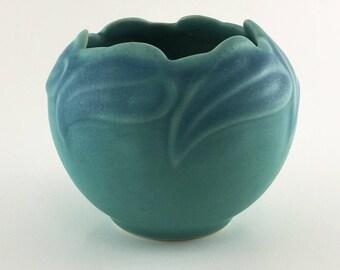 1980's Signed Van Briggle Art Pottery Philodendron Leaf Bowl