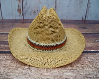 Vintage Dead Stock Resistol Stagecoach Straw Cowboy Hat, Size 6 7/8, Western Hat