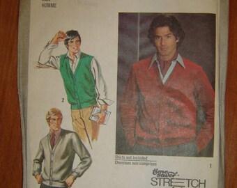 Simplicity 9205 Mens Cardigan & Vest-Cardigan pattern. Size 36-38-40. FACTORY FOLDED