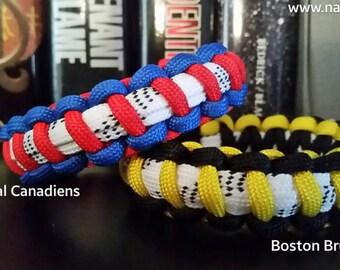 Hockey Skate Lace Bracelet, custom hockey team bracelets.