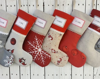 Family Christmas stockings, fun kids stockings, fairytale stockings, character stockings