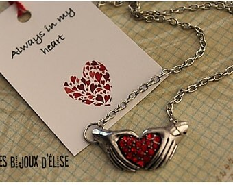 Personalized Red Heart and Hands Necklace