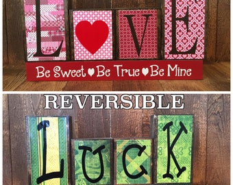 REVERSIBLE Valentine's & St Patrick's day wood blocks-Love,Be mine, Sweetheart reverses with Luck of the Irish,reversible holiday bloc