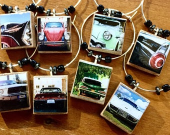 Classic Vintage Cars Set of 8 Scrabble Tile Wine Glass Charms
