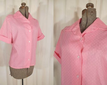 Vintage 1950s Blouse - Plus Size Polka Dot Blouse, Extra Large Pink High Waist Blouse with Cuffed Sleeves, Early 80s Rockabilly
