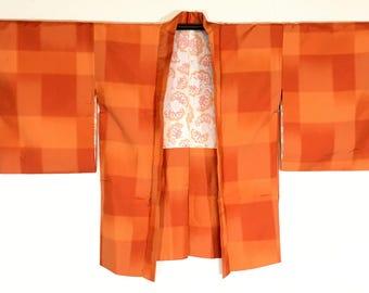 Vintage Japanese Silk Women's Woven Plaid Haori Kimono Jacket