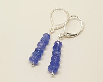 7.58ctw Tanzanite Sterling Silver Bead Earrings