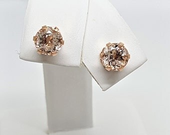 1.79ct Round Morganite 10KT 6 Prong Rose Gold Stud Earrings
