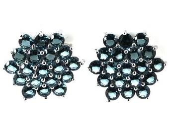 13.25ctw London Blue Topaz Cluster Sterling Silver Earrings