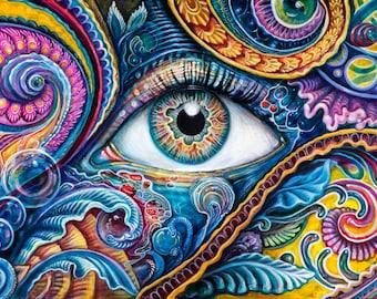 Reflection Two - Paper Print by Morgan Mandala and Randal Roberts - Eye Abstract Collaboration - Paisley Yellow Turquoise Eyes Art Poster