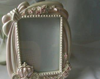 Picture frame - chic decor - 9 x 7.5 frame - photo frame - ornate frame - pink frame - pastel frame - girl's decor - chic picture frame