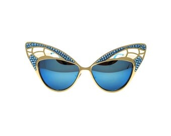 Colourful Retro Abstract Butterfly Sunglasses with Swarovski - TIGER EYE