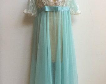 Sheer Lace Peignoir