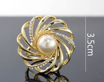 Chic Lady Women's Gold Silver Crystal Silk Scarf Buckle Ring Holder Clip Jewelry