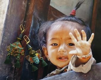 Earrings tribal Asian - Buddha - earrings nomadic Tibetan asymmetric - buddha - Buddhist - yoga - zen