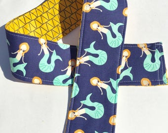 Padded Camera Strap Cover,Neck Strap- Padded- DSLR-  Blue Mermaid Reversible Yellow, Photographer Thank You Gift, Photography