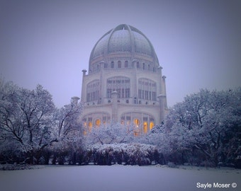 Baha'i Temple at Dusk with a Dusting of Snow Fine Art Photograph, Wall Art, Wilmette Image, Gift, Bahai Faith Photography, Chicago Image