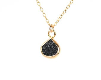 Little black druzy necklace / raw crystal necklace / black crystal necklace