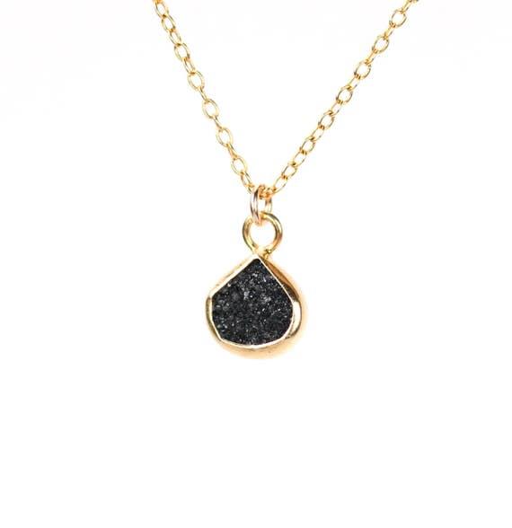 Little black druzy necklace / raw crystal necklace / black crystal necklace