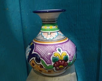 Vintage Mexican Talavera Pottery Vase by Hernandez Hand painted  home decor ethnic folk art